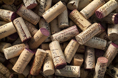 Collection Of Fine Wine Corks Print by Adam Romanowicz