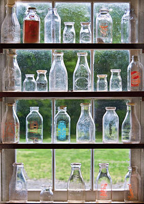 Custom Glass Photograph - Collector - Bottles - Milk Bottles  by Mike Savad