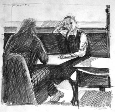Drawing - College Diners by Mark Lunde