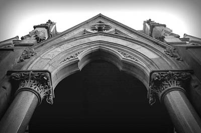 Photograph - College Hall Entry - Black And White by Joseph Skompski