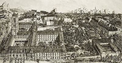 Landmarks Drawing - College Henri Iv And The Lycee Napoleon by Charles Meryon