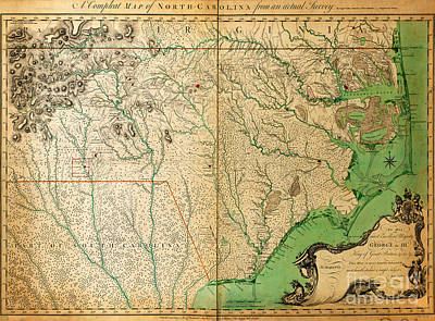 1770 Painting - Collets Survey Of North Carolina 1770 by Celestial Images