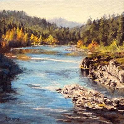 Colliding Rivers Fall Art Print by Karen Ilari