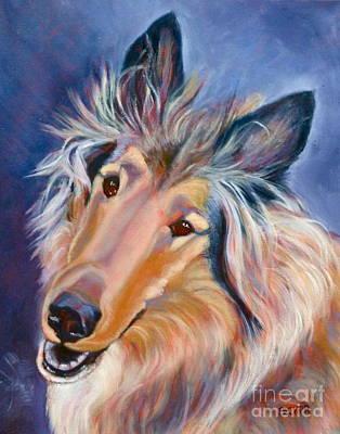 Collie Caper Art Print by Susan A Becker