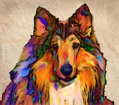 Scottish Dog Digital Art - Collie by Marlene Watson
