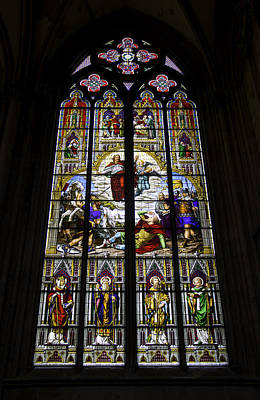 War Relief Photograph - Cologne Cathedral Stained Glass Window Of St Paul by Teresa Mucha