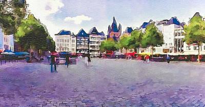Cologne Restaurants Square Art Print