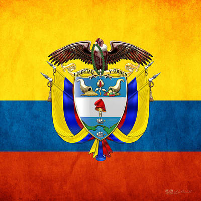 Digital Art - Colombia Coat Of Arms And Flag  by Serge Averbukh