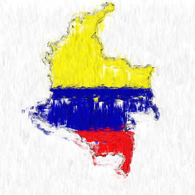 Colombia Painted Flag Map Art Print by Antony McAulay