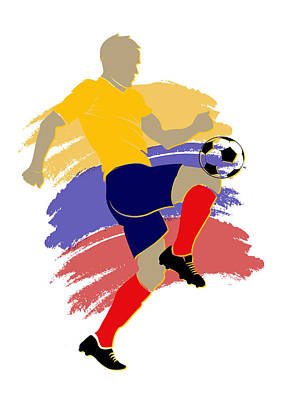 Colombia Soccer Player Art Print by Joe Hamilton