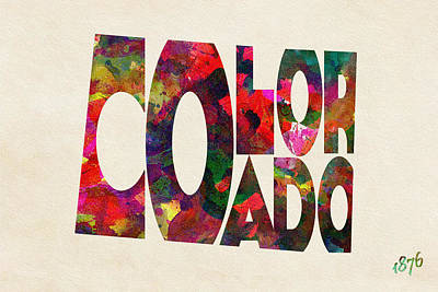 Colorado Typographic Watercolor Map Print by Ayse Deniz