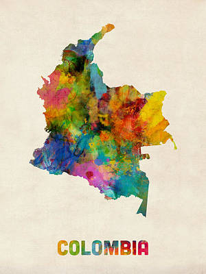 Urban Watercolor Digital Art - Colombia Watercolor Map by Michael Tompsett
