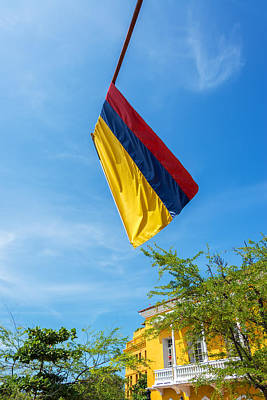 Colombian Flag And Blue Sky Art Print by Jess Kraft