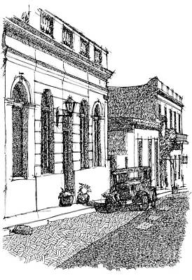 Old Street Drawing - Old Ford On Colonia Uruguay by Pablo Franchi