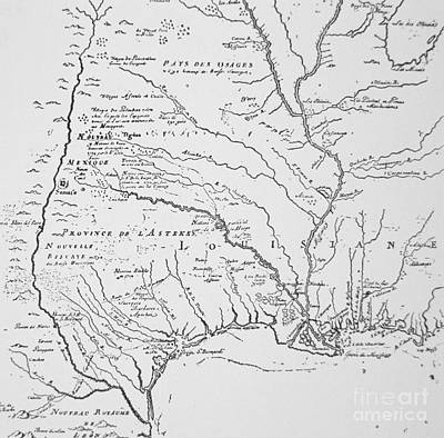 Border Drawing - Colonial America Map Of Louisiana New  France by French School