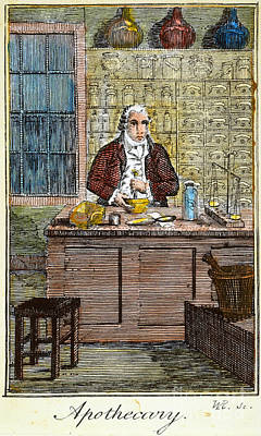 Colonial Man Photograph - Colonial Apothecary, 18th C by Granger