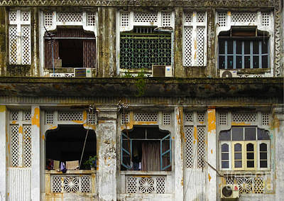 Colonial Facade Bo Soon Pat Street 8th Ward Central Yangon Burma Art Print by Ralph A  Ledergerber-Photography