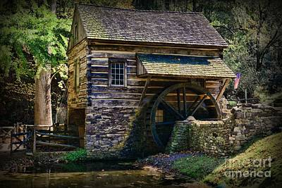 Log Cabin Interiors Photograph - Colonial Grist Mill by Paul Ward