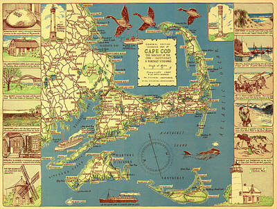 Cape Cod Drawing - Colonial Map Of Cape Cod by Mountain Dreams