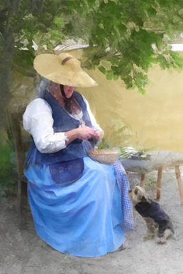 Digital Art - Colonial Woman With Dog by Francesa Miller