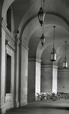 Colonnade And Bicycles Art Print