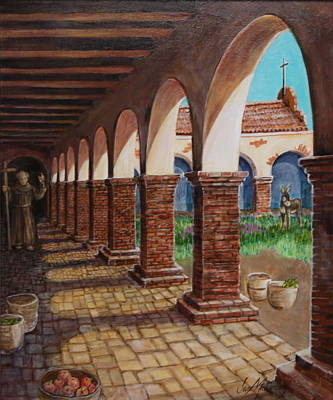 Colonnade And Father And Donkey  Art Print