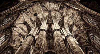 Photograph - Colonnade And Stained Glass No1 Sepia Version by Weston Westmoreland