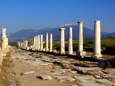 Photograph - Colonnaded Road Laodicea  by Lou Ann Bagnall
