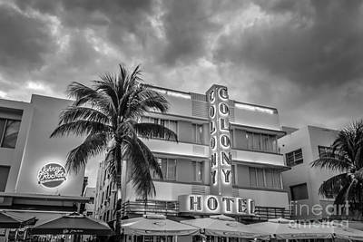 Florida Photograph - Colony And Johnny Rockets Art Deco District Sobe Miami - Black And White by Ian Monk