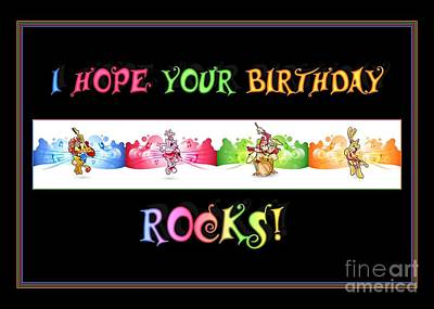 Digital Art - Color Birthday Rocks by JH Designs