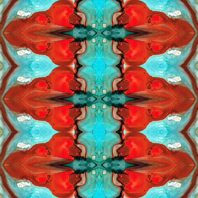 Indian Tribal Art Painting - Color Chant - Red And Aqua Pattern Art By Sharon Cummings by Sharon Cummings