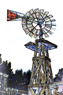 Color Drawing Antique Windmill 3005.05 Art Print by M K  Miller