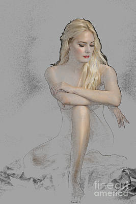 Sexy Woman Photograph - Color Drawing Of Nude Woman On Floor 1302.05 by Kendree Miller