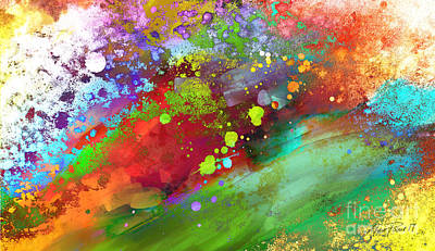 Painting - Color Explosion Abstract Art by Ann Powell