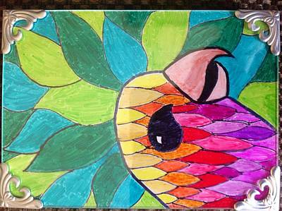 Parakeet Drawing - Color Flash by SK Birch