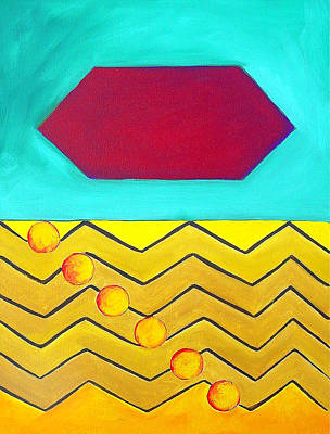 Painting - Color Geometry - Hexagon by Carolyn Goodridge