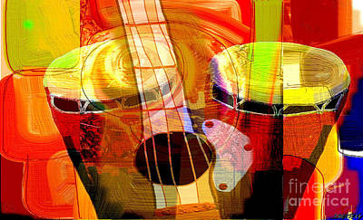Conga Mixed Media - Color Of Music by Theo Bethel