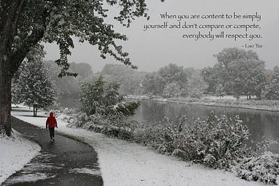 Photograph - Color Photo Snow Scene Lao Tzu Quote by Heidi Hermes