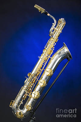 Saxophone Photograph - Color Picture Of A Baritone Saxophone Photograph 3463.02 by M K  Miller