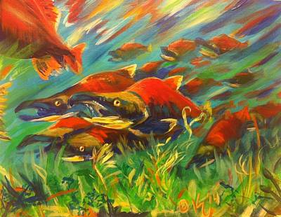 Salmon Painting - Color Run by Kristi Sandberg
