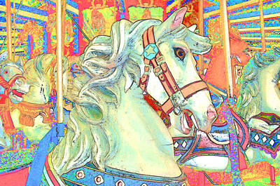 Carousel Pony Photograph - Color Sketch Steed by Barbara McDevitt