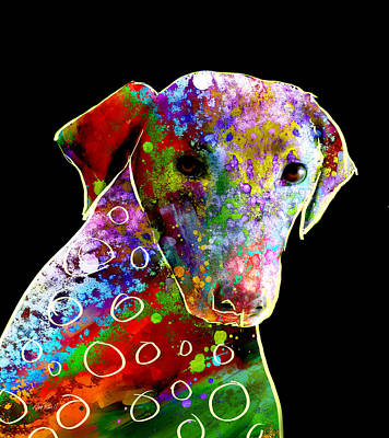 Color Splash Abstract Dog Art  Art Print by Ann Powell
