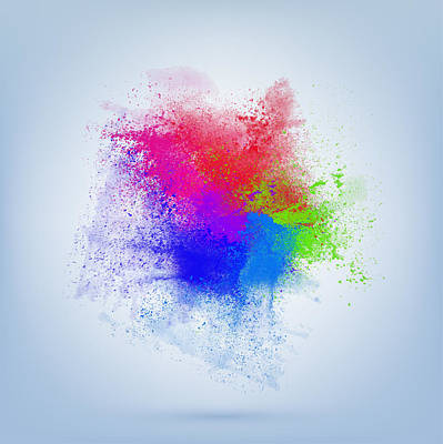 Color Splash Abstract On Shiny Sky Blue Background With Space For Your Text