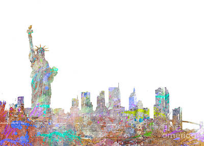 Liberty Island Digital Art - Color Splash New York by Aimee Stewart