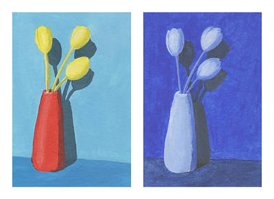 Monochromatic Study Painting - Color Study Tulips by Matt Lewis