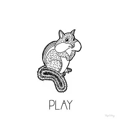 Chipmunks Wall Art - Painting - Color The Forest Vii Play by Elyse Deneige