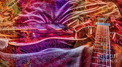 Color Wheel Digital Guitar Art By Steven Langston Art Print by Steven Lebron Langston