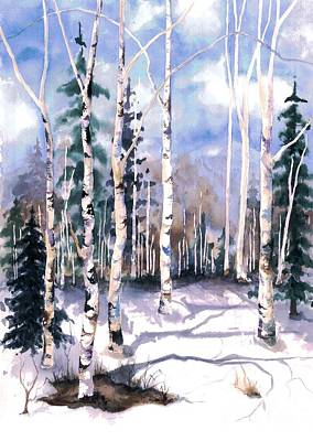 Snow Scene Painting - Colorado Aspens 2  by Barbara Jewell