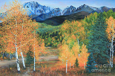 Pikes Peak Painting - Colorado Aspens by Jeanette French
