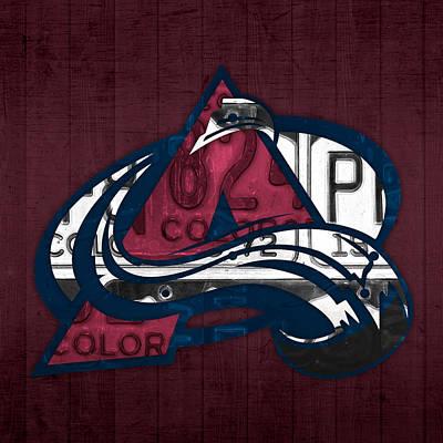 Hockey Mixed Media - Colorado Avalanche Hockey Team Retro Logo Vintage Recycled Colorado License Plate Art by Design Turnpike